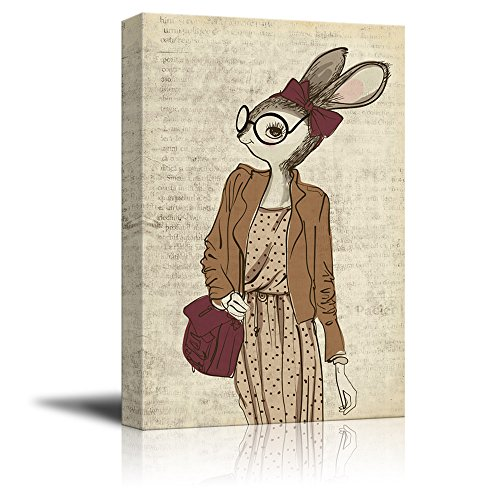 Creative Animal Figure on Vintage Paper Lady Bunny