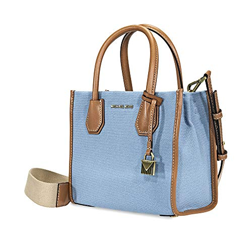 Michael Kors light blue purse | Michael Kors Mercer Canvas Crossbody (Powder Blue)