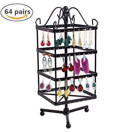 4 Tiers Rotating 64 Pairs Earring Holder-Necklace Organizer Stand-Jewelry Stand Display Rack Towers