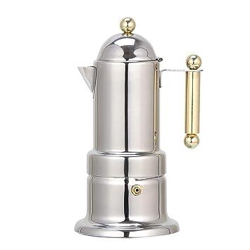 Aszhdfihas 4 Tazas 200 ML Estufa Moka Estufa de café Superior Máquina de café expreso de Acero Inoxidable Cafetera Express Moka Pot Hand Café casero ...