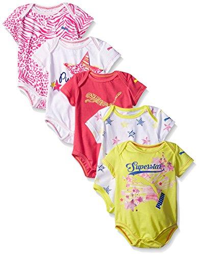 PUMA Baby-Girls 5 Pack Short Sleeve Bodysuit, Lemon Tonic, 6/9M