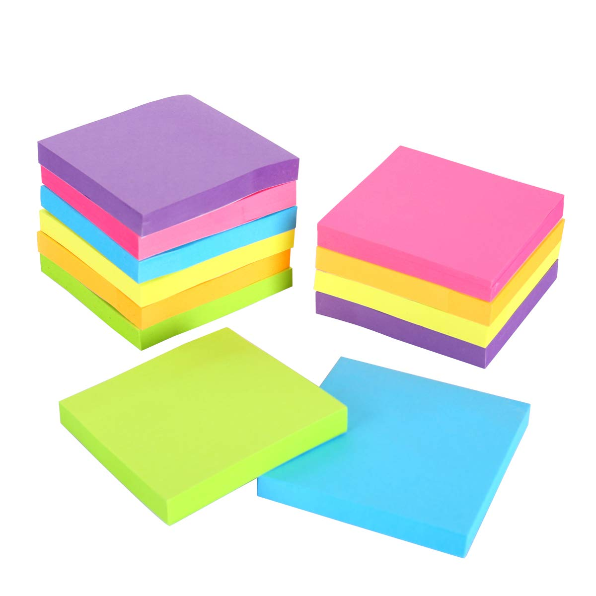 Sticky Notes, 3 in x 3 in, 12 Pads/Pack,100 Sheets/Pad, 6 Bright Colors Self-Stick Notes for Home,Office, School, Easy Post.