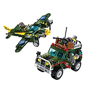 WW2 Military Aircraft B-17 Bomber,Armored Vehicle and Army Minifigures Building Block Toy for Children Creative Role Play(241 piece)