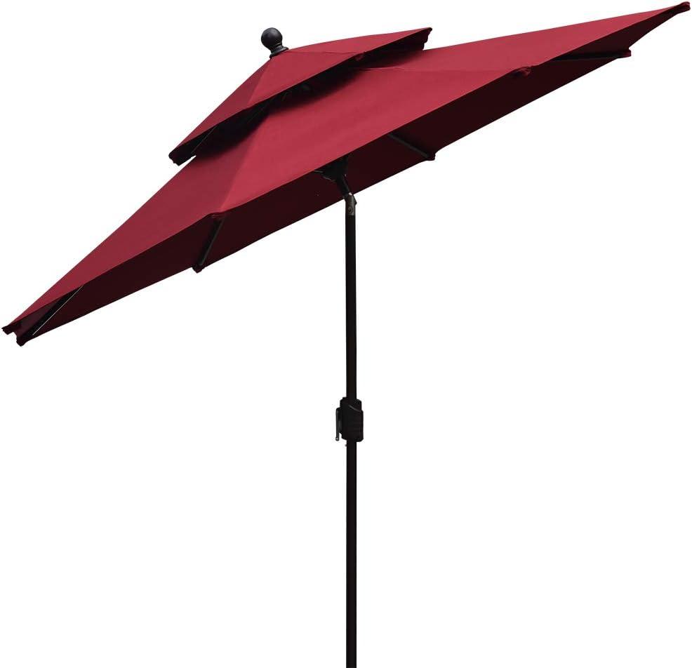 EliteShade Fadesafe 9ft 2 Layers Market Umbrella Patio Outdoor Table Umbrella with Ventilation FadeSafe Burgundy Clarity