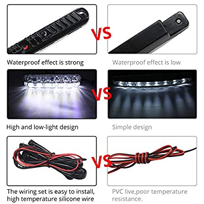 Boodlied Waterproof Daytime Running Lights DRL Kit High/Low Beam High Power 6 LEDs Spot Fog Lamp Universal Fit For Car SUV Vehicle DC12V 6000K Xenon White.2-Pack.: Automotive