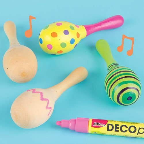 Baker Ross Real Wood Maracas | 4.3 inches (11cm) | for Children to Paint & Decorate (Pack of 4) -