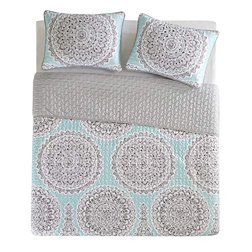 Bedding Sets Twin & Twin Xl - Quilt/Coverlet Set - 2 Pieces - Blue/Aqua/Grey - Printed Medallions Pattern - featherweight Twin Size Bedding Sets For Girls - Bedspread healthy Twin & Twin Xl - Adele
