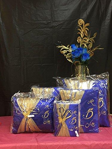 5 pc Blue and Gold Colour Quinceanera Set Mis Quince Set Pillows Guest Book Photo Album (Quinceanera Set)