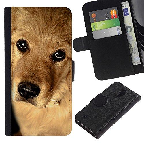 EuroCase - Samsung Galaxy S4 IV I9500 - golden retriever dog puppy canine - Cuero PU Delgado caso cubierta Shell Armor Funda Case Cover