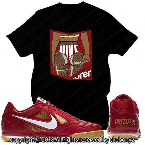 Custom T Shirt Matching Style of SB GATO Supreme RED SG 1-2-1-BLACK-XL (Supreme Sb)