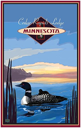 Cedar Rapids Lodge Minnesota Loon Travel Art Print Poster by Joanne Kollman (30