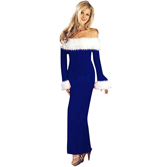 Women s Sexy Off Shoulder Maxi Dress Christmas Costume Winter Warm Long  Sleeve Santa Claus Wrap Bodycon d7219822b