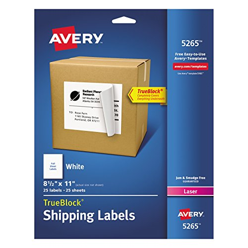 Avery Shipping Address Labels, Laser Printers, 25 Labels, Full Sheet Labels, Permanent Adhesive, TrueBlock (5265)