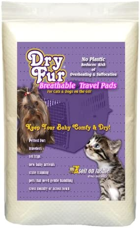 DryFur Super Absorbent Pet Carrier Travel Pads XL – 24in x 35in 2 Pack
