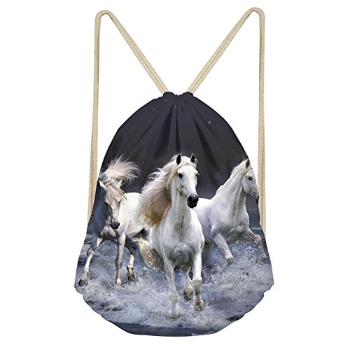 (HUGS IDEA White Horse Drawstring Backpack Gym Sack Bags Shopping Outdoor Sports Storage Tote Bag)