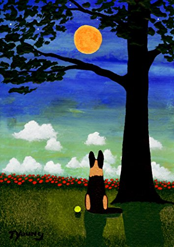 Todd Abstract Painting - German Shepherd Dog Reproduction Art PRINT of Todd Young painting TWILIGHT