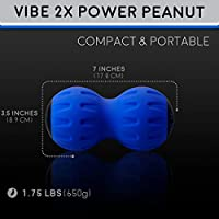 Vibe 2X Power Peanut - Vibration Therapy Massage Ball & Exercise Roller for Cordless Rechargeable Myofascial Release, Deep Tissue, Trigger Point & Sports Massage by Body Back Company (Blue) by Body Back Company