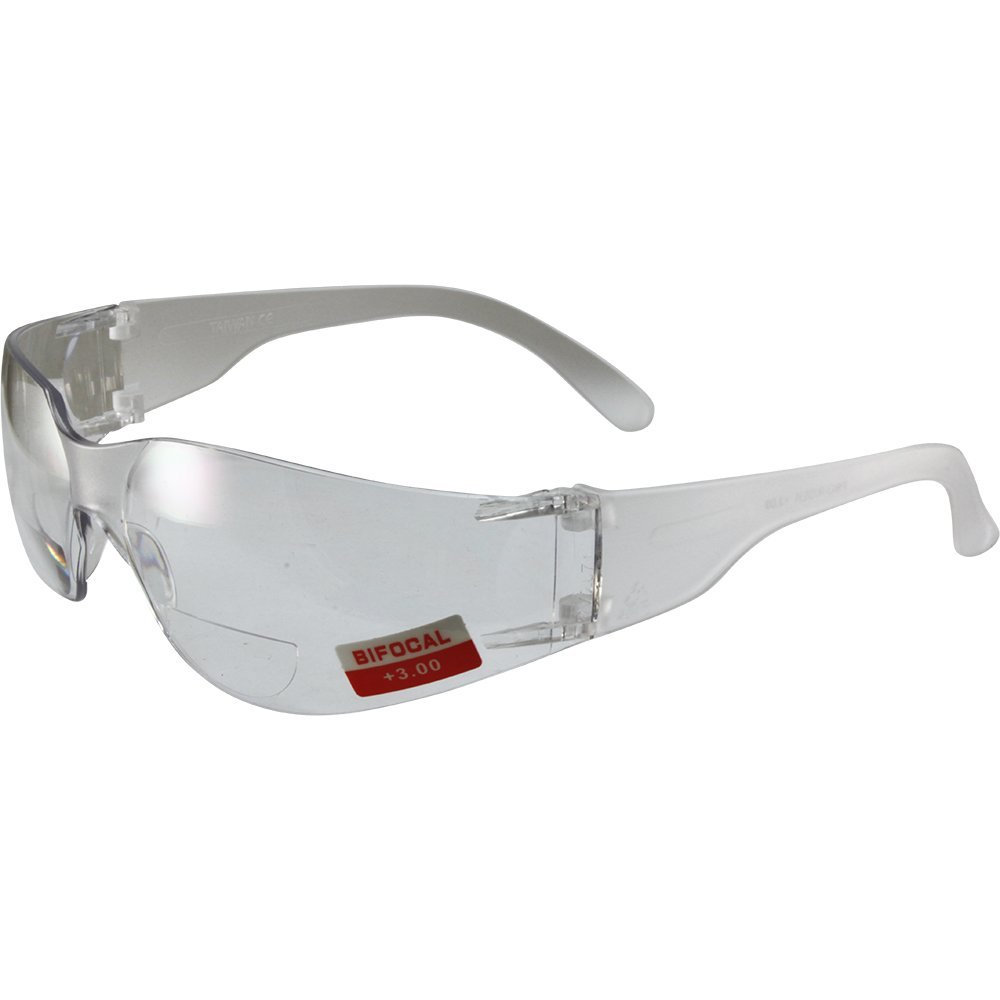 Global Vision Rider Bifocal Safety Motorcycle Riding Sunglasses Clear Frame Clear 3.0x Magnification Clear Lens Z87.1