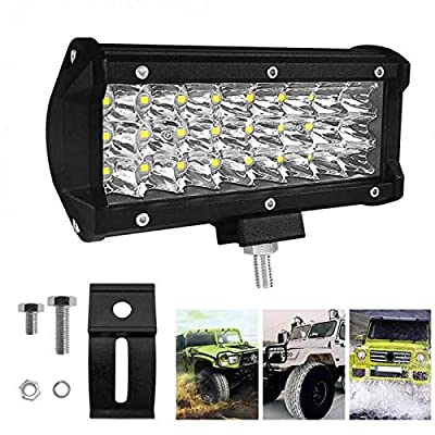 HILLSKING 7 Inches 144W 14400LM LED Light Bar, Spot Light Pods Off Road Driving Lights Fog Bumper Roof Light for Boat, Jeep, SUV, Truck, Hunters, Motorcycle, 2 years Warranty: Automotive