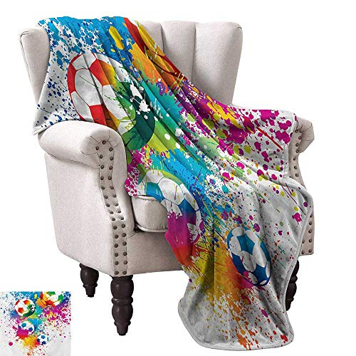 (Anyangeight Throw Blanket,Colored Splashes All Over Soccer Balls Score World Cup Championship Athletic Artful 50
