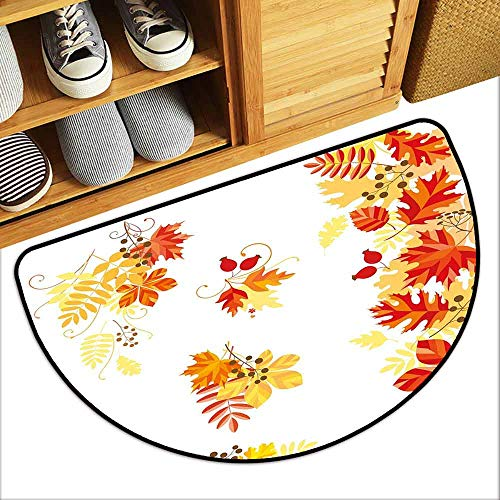 DILITECK Outdoor Doormat Fall Autumn Themed Pattern Chestnut Oak Maple Leaves and Berries Corner Design Elements Machine wash/Non-Slip W36 xL24 Multicolor