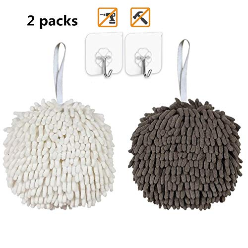 (Abcty Soft Absorbent Chenille Hand Towels Ball(6.7'),Quick Dry Hand Bath Towel, Bathroom Hand Towels with Loop,Wash/Dry,Hanging Kitchen Hand Towels (Include 2 PCS Wall Hooks) (2 Pack,)
