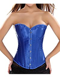 Anvoro Women's Classic Satin Overbust Corset Lace Up Boned Busiter