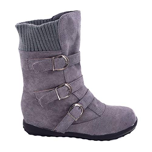 Sexy Boot Inch Ankle 1/2 - YING LAN Women's Winter Snow Ankle Boots Buckle Sweater Knit Flat Warm Cozy Mid Calf Slouch Bootie