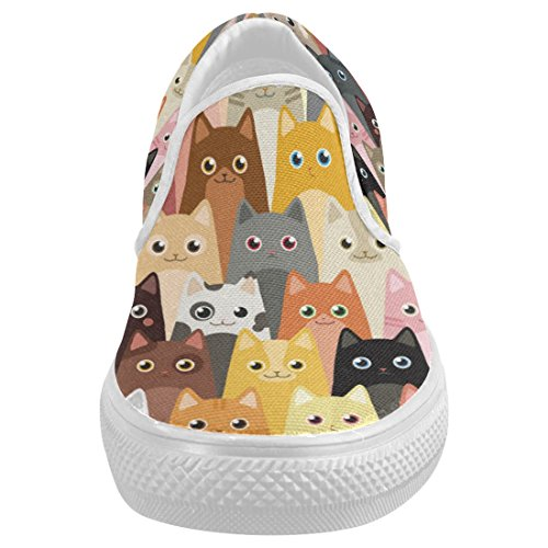 Interestprint Söt Katt Avslappnad Slip-on Canvas Womens Modegymnastikskor