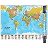 Hemispheres Blue Ocean Series World Wall Map - Bi-Lingual English/French Version