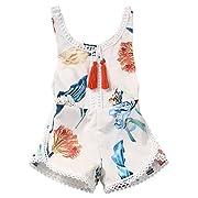 Newborn Baby Girls Ethnic Style Sleeveless Tassels Backless Floral Romper (0-3months, White)
