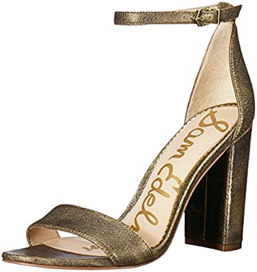 Sam Edelman Women's Yaro Heeled Sandal, Pure Gold Brushed Suede, 5 M US