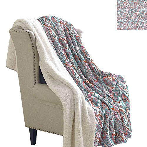 (Alexandear Paisley Light Thermal Blanket Persian Leaves and Flowers Print Summer Quilt Comforter 60x32 Inch)