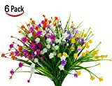Lobeve Artificial Flowers of 6 Bundles, Fake Plastic Plants,Faux Daffodilsfor Window Box Home Patio Yard Indoor Garden Light Office Wedding Decor-Multi