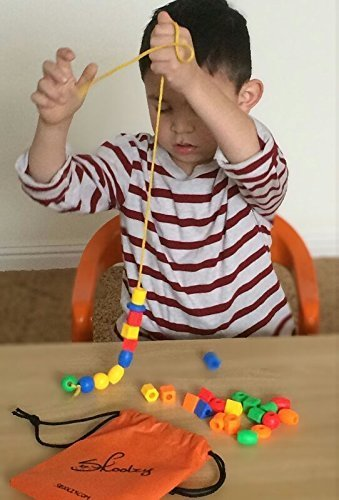 30 jumbo toddler lacing stringing beads with string for Toys to help with fine motor skills