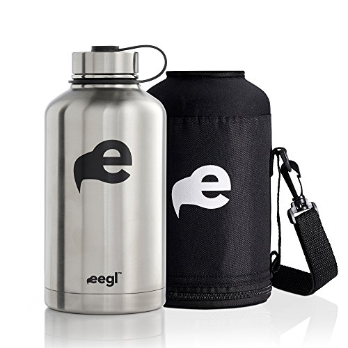 eegl Stainless Steel Insulated Beer Growler - 64 oz Water Bottle - Includes Carry Case - Double Wall Vacuum Sealed Wide Mouth Design. Five Year Guarantee! Perfect Temperature Control from