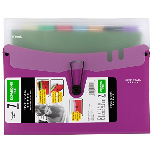 "Five Star Expanding File with Removable Files, 7-Pocket, 13"" x 10-1/4"", Purple (73943)"