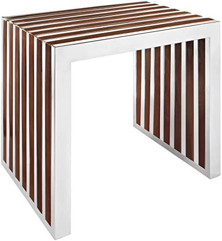 Modway Gridiron Contemporary Modern Small Stainless Steel Bench With Wood Inlay, 19.5