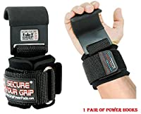 Grip Power Pads Heavy Duty PRO Metal Lifting Steel Hooks Best Power WeightLifting Set of 2 Premium Thick Padded Workout Hook Gloves