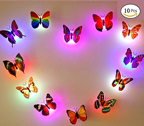 10 PCS Decoration Butterflies LED Flashing Lighting (Butterfly) Light Up Night Light in The Dark (Pergola Wall Supports)