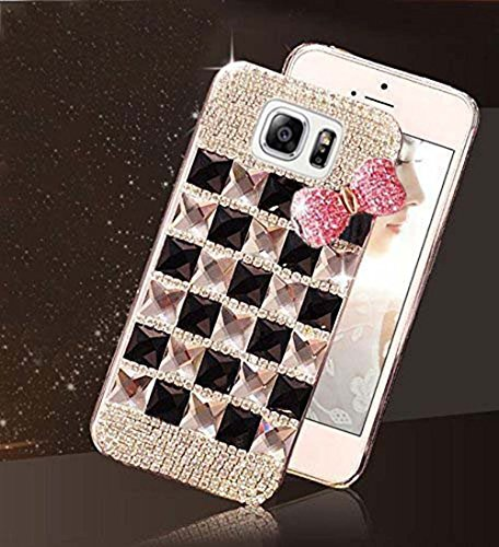 kc bling bowknot with diamonds soft samsung galaxy s7 edge back cover for girls  gold black