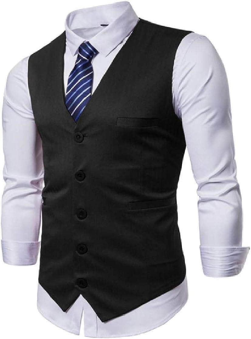 CrazyDayMen Sleeveless Casual Single-Breasted Banquet Necktie Dress Vest Waistcoat