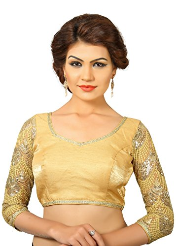 Saris and Things Gold Dupion Silk Fancy Back Open Saree B...