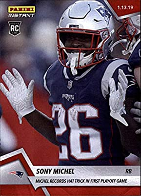 2018 Panini Instant Football #377 Sony Michel RC Rookie New England Patriots Records Hat Trick in First Playoff Game Print Run 77 January 13 2019