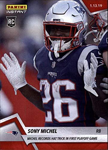 England New Record Patriots (2018 Panini Instant Football #377 Sony Michel RC Rookie New England Patriots Records Hat Trick in First Playoff Game Print Run 77 January 13 2019)