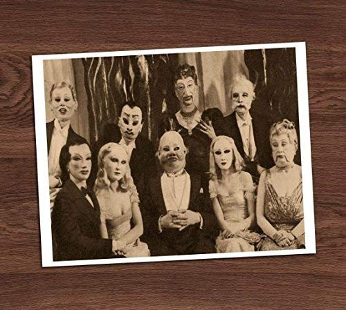 Creepy Group Photo Vintage Art Print 8x10 Wall Art Pretty Adults Costumes Halloween Decor -
