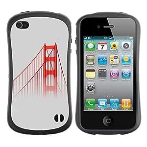 "Pulsar iFace Series Tpu silicona Carcasa Funda Case para Apple iPhone 4 / iPhone 4S , San Francisco Puente Rojo Usa Mist Naturaleza Niebla"""