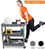 Original Tubster - Shelf Utility Cart/Service Cart - Heavy Duty - Supports up to 400 lbs! - Tub Carts & Deep Shelves (Three Shelf Gray)