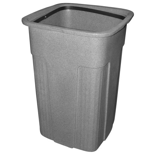 Toter 0SSC50-R1GST Slimline Square Trash Can, 50-Gallon, Graystone