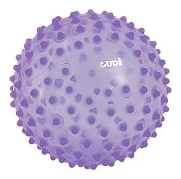 LUDI - Balle sensorielle orange pour l'éveil de bébé. Adaptée aux enfants dès 6 mois. Gros picots tendre faciles à mordiller. Balle de jeu ou de massage. Diamètre : 20 cm - réf. 2795OR 2795 OR
